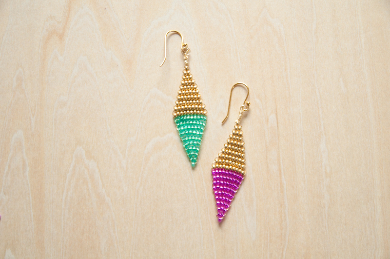DIY Diamond Colorblock Earrings