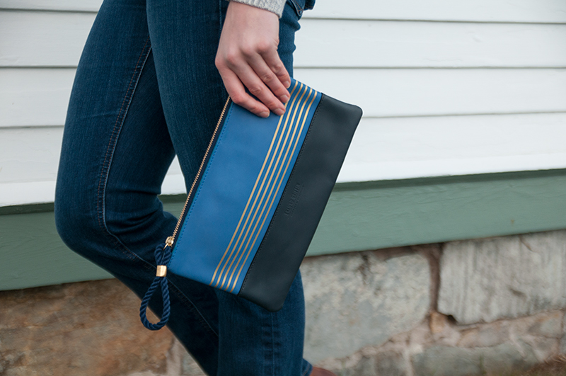 Buoy Block Clutch in Casco Bay Blue and Navy