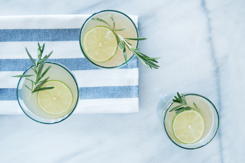 Maine Maple Rosemary Gimlets for friends